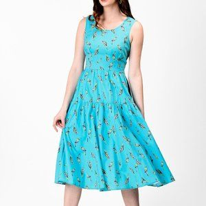 18W ESHAKTI BIRD Parrot print cotton tier dress